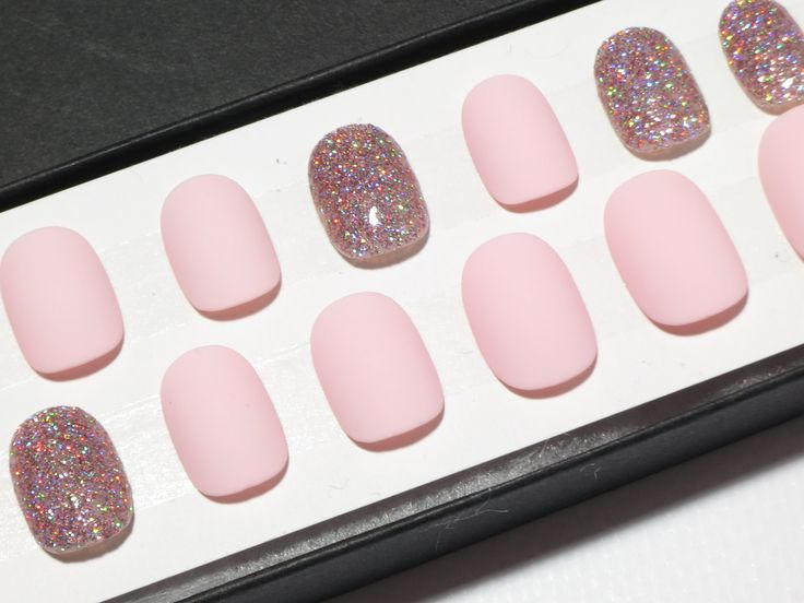 Pink Matte Or Gloss Press On Nails With Iridescent Chrome Ab Crystals All Nail Shapes