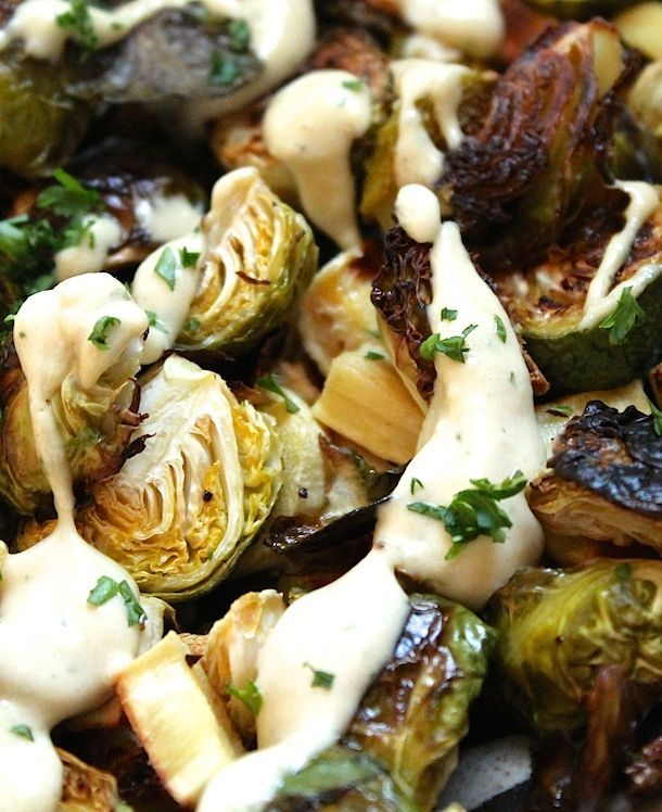 Crispy Roasted Brussels Sprouts with Lemon Tahini Sauce {paleo, whole 30, vegan}