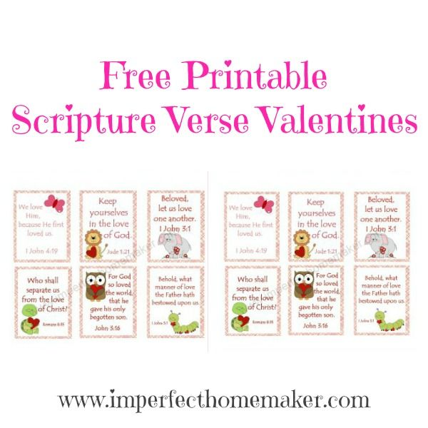Free printable Scripture Verse Valentines! Great for Sunday School or children's church!