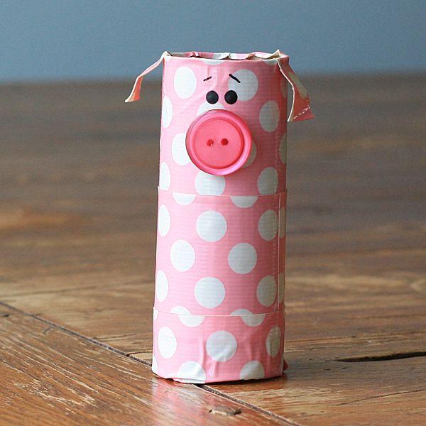 Cardboard Tube Polka Dot Pig - Crafts by Amanda