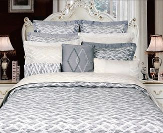 Vienna Grey Bedding By Highland Feather A jacquard pattern with modern styling.  shell:  72% polyester/28% cotton lining:  300 thread count, 100% cotton