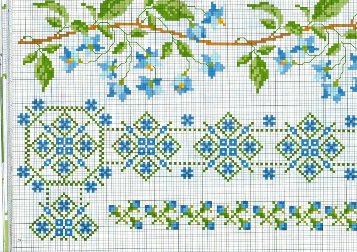 Cross-stitch Floral Borders... no color chart available, just use pattern chart as your color guide.. or choose your own colors..   Gallery.ru / Фото #14 - 3 - Auroraten