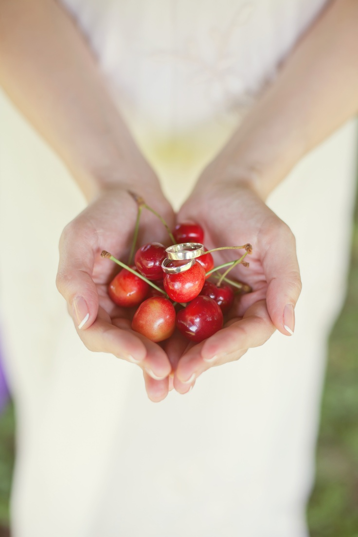 Cute pictures of wedding rings with cherries