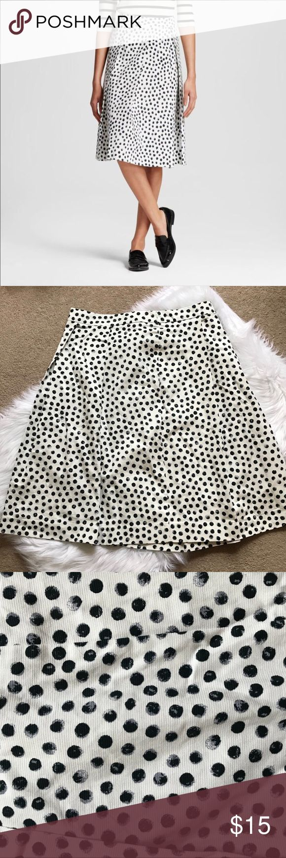 """Who What Wear Polka Dot Skirt Sz 14 Who What Wear Polka Dot Skirt.  Size 14.  Beautiful heavy fabric.  Winter white with black dots.  Zip closure. Waist laying flat measures 17.5"""".  When this skirt fit I wore it high waisted at my natural slimmest point of my waist. Who What Wear Skirts Midi"""