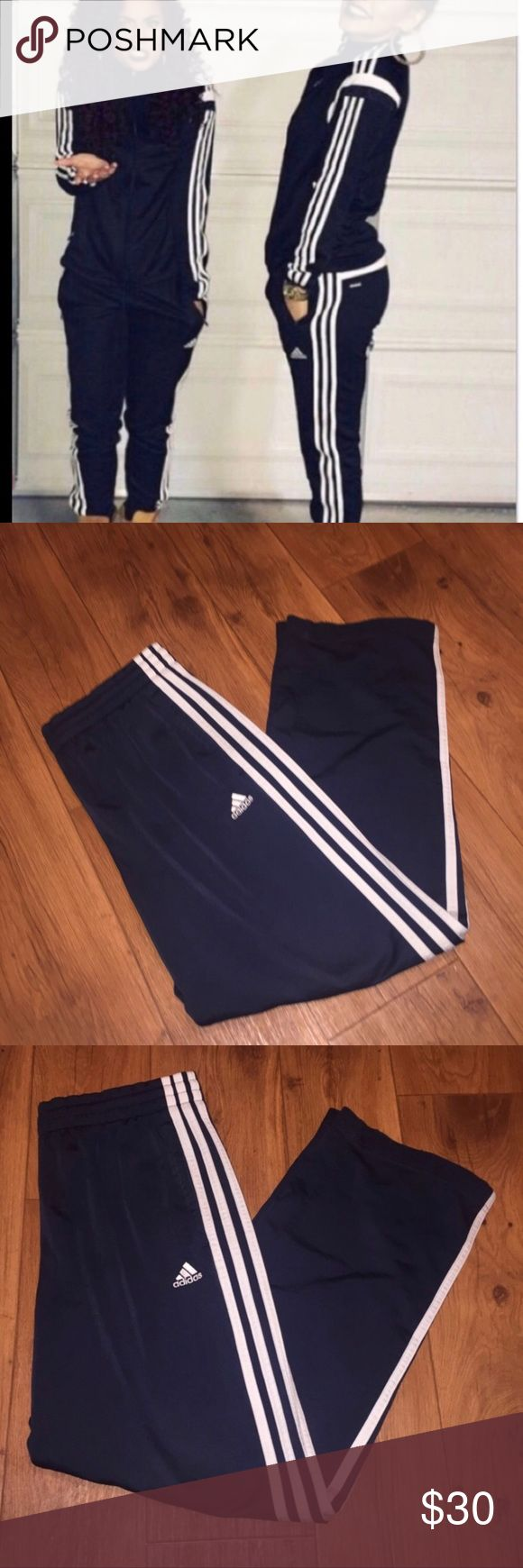 ⚡️Adidas Navy Superstar track pants 🌙Adidas Navy Athletic Track Pants  - Navy Blue with White racing down the side - Size Medium in Womans  - Loose fit, straits strait legs, thick waist band  -  100% polyester (Jersey like material)  - Light weight, breathable material - Perfect new condition adidas Pants Track Pants & Joggers