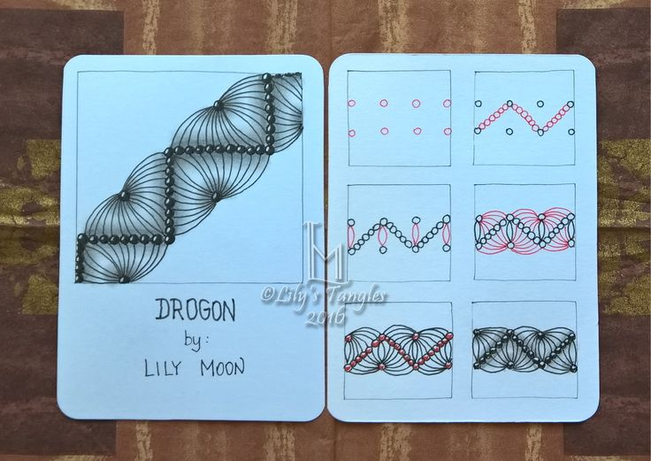 Lily's Tangles: My new pattern: Drogon and other weekly tiles