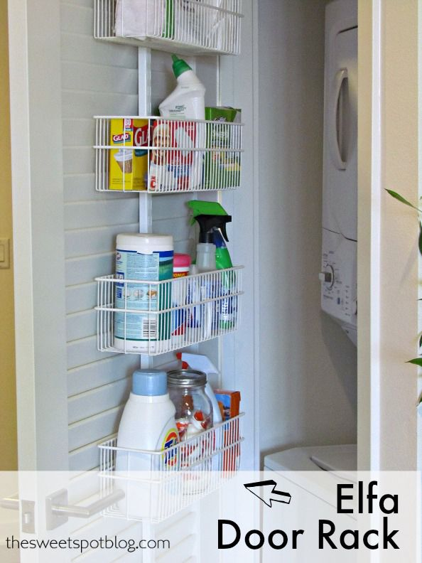 Laundry Closet Organization by The Sweet Spot Blog -- simple tricks to fit everything you need in a very small space! #laundry #organize #diy
