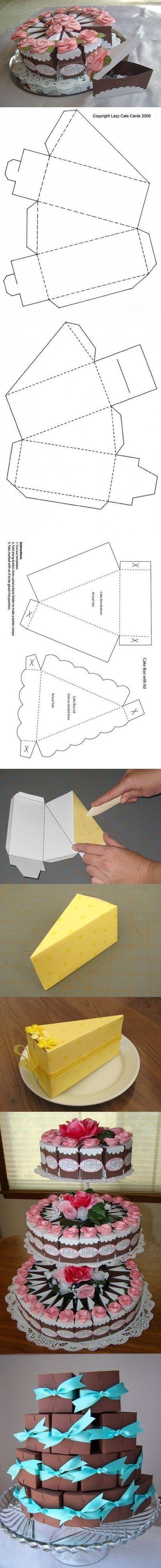 Caixas de lembrancinhas em formato de fatias de bolo! Acesse: https://pitacoseachados.wordpress.com #pitacoseachados: