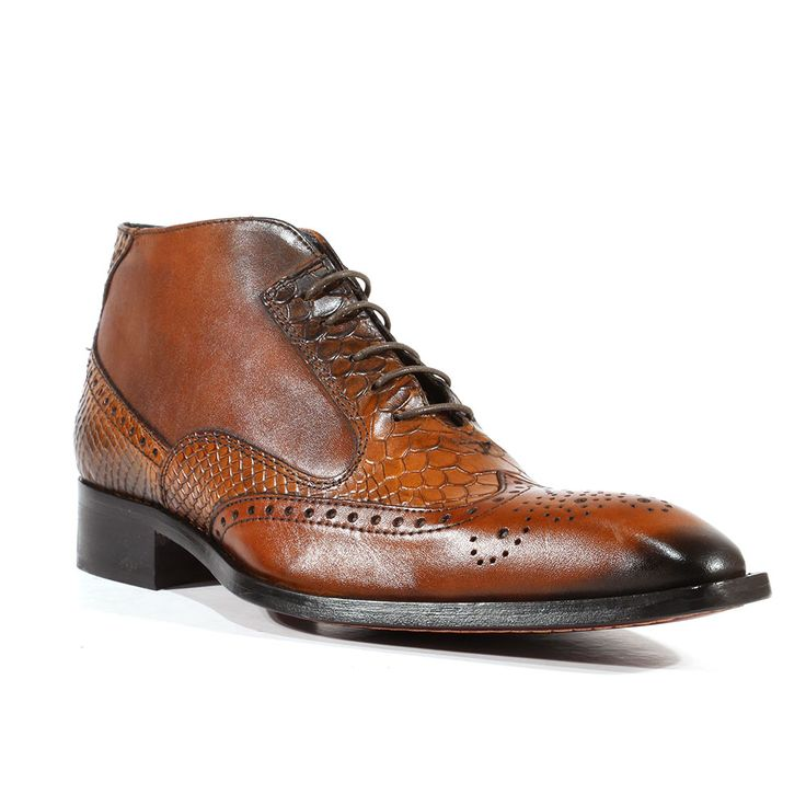 Duca Italian Mens Shoes Calf Snake Print Cuoio Boots (D2110) Material: Leather Color: Brown / Cuoio Outer Sole: Leather Comes with original box and dustbag. Made in Italy. 1102-CUOIO-N