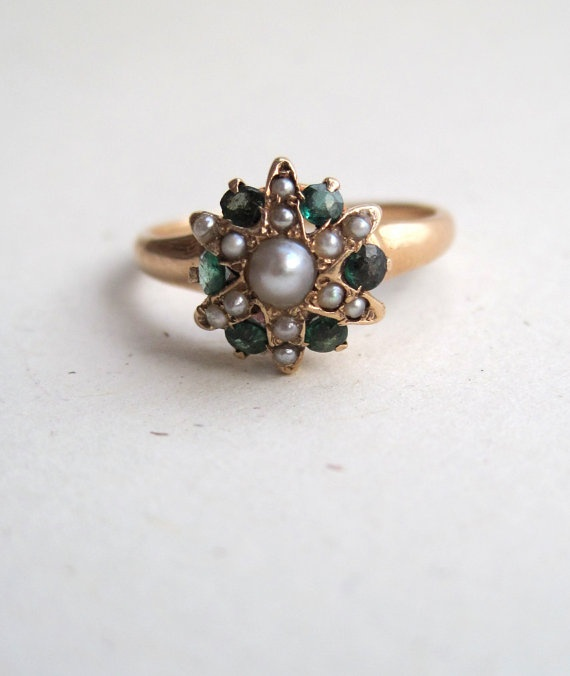 https://www.bkgjewelry.com/ruby-rings/642-14k-yellow-gold-diamond-ruby-ring.html Antique Victorian Pearl Emerald and 14k Gold Star Ring
