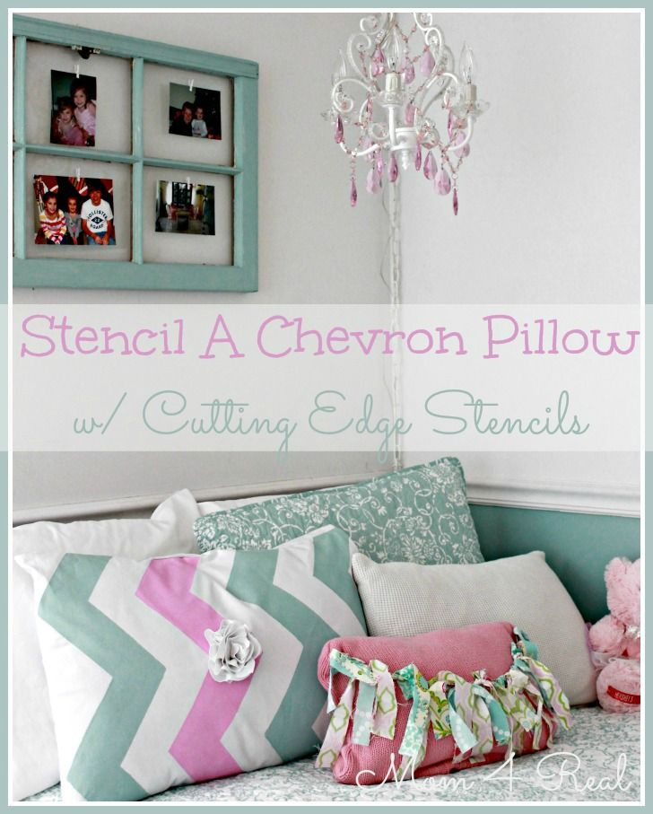 Stenciled Chevron Pillow & A Cutting Edge Stencil Giveaway! - Mom 4 Real