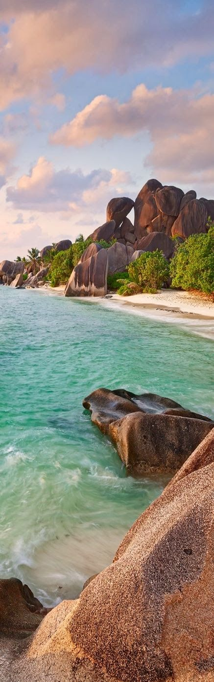"""""""With its coconut palms and magnificent white sands, La Digue is the epitome of laidback."""" Seychelles: the Bradt Guide; www.bradtguides.com/seychelles"""
