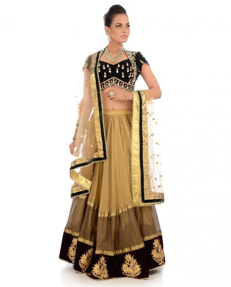 Golden and black color lehenga choli online – Panache Haute Couture