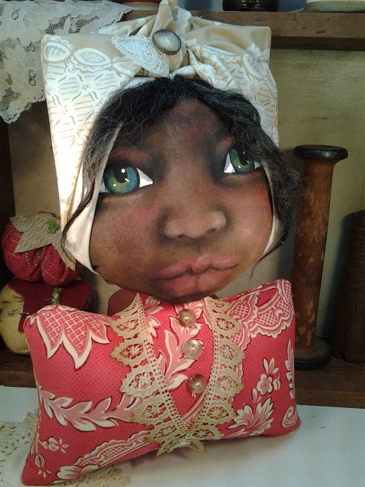 Painted Heart Designs Folk Art Shelf Sitter Doll One of a Kind.