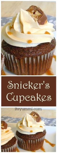 Snicker's Cupcakes {Easy Cupcake Recipes} via /itsyummi/