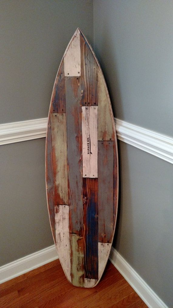 """Faux Pallet Wood Surfboard Wall Hanger Headboard 62 Inches Long x 18 Inches Wide 1 1/2"""" Thick"""