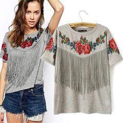 $22 for a Women's Vintage Tassel Floral Print T-shirt | DrGrab
