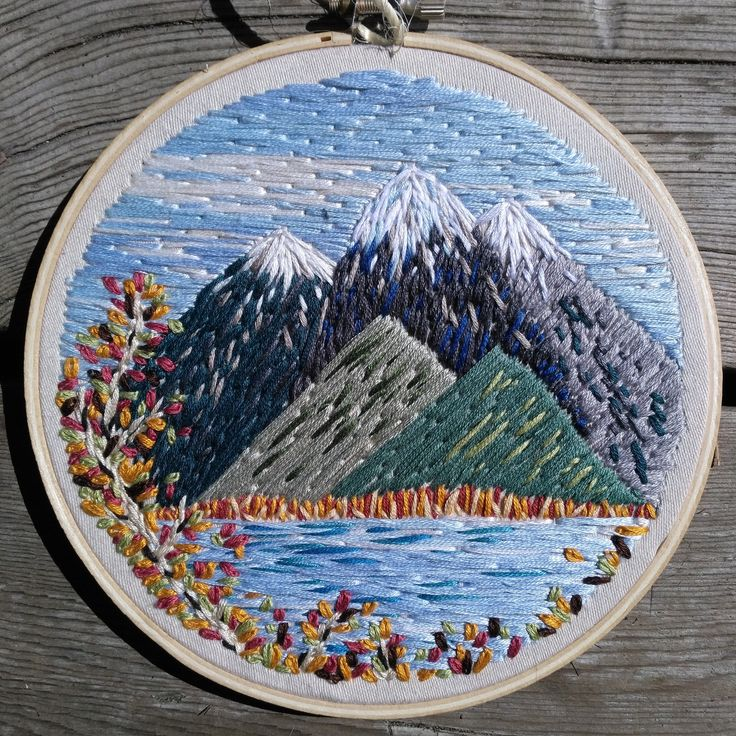 """Fall Mountain Embroidery Landscape Scene 6"""" Hoop by Crehetive on Etsy https://www.etsy.com/listing/525549381/fall-mountain-embroidery-landscape-scene"""
