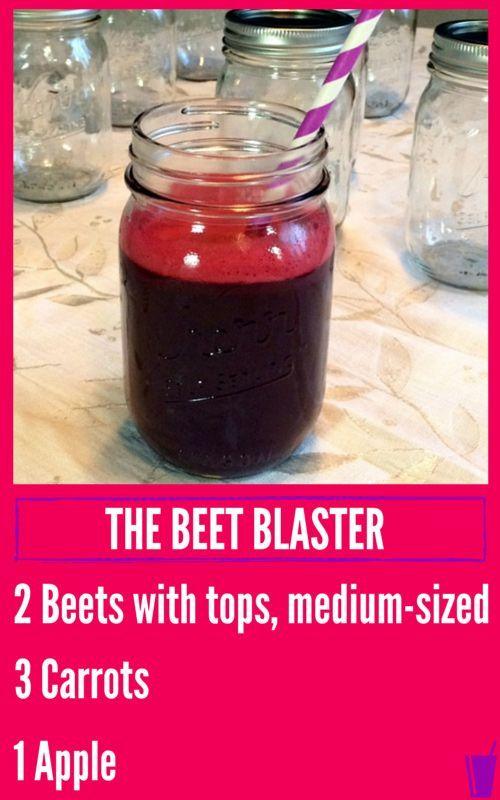 Beet Blaster Healthy Juice Recipe listed with a mason jar of Beet Blaster Juice.