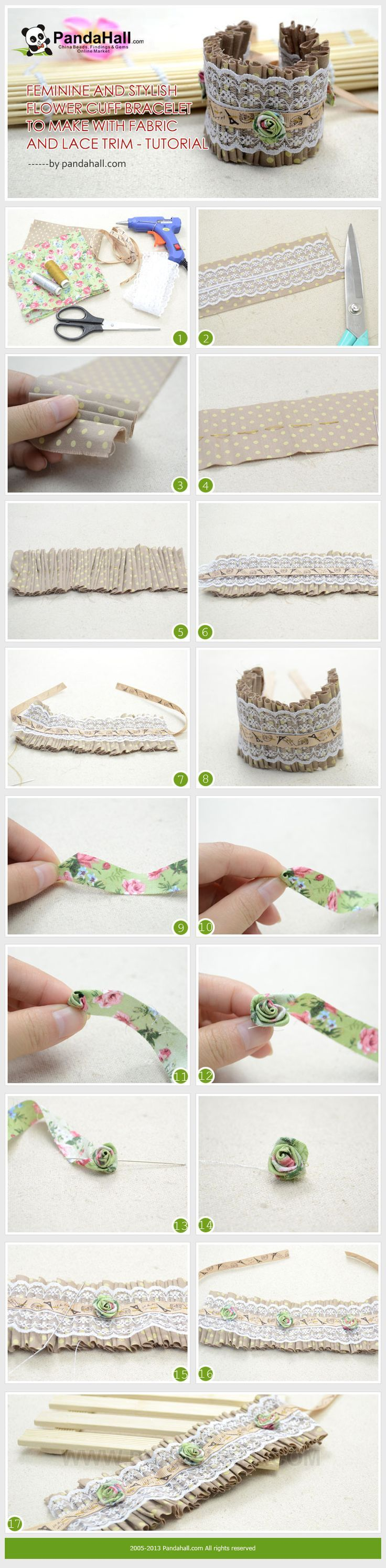 Feminine and Stylish Flower Cuff Bracelet to Make with Fabric and Lace Trim - #DIY
