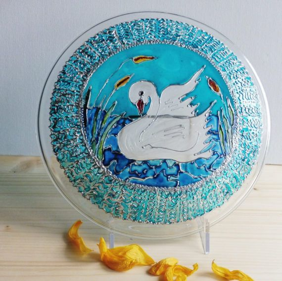 Painted Swan Glass  Hand Painted Plates  by MariGlassAtelier