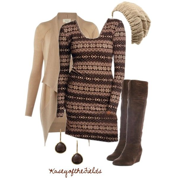 """Winter Cocoa"" by kaseyofthefields on Polyvore. Love the dress!"