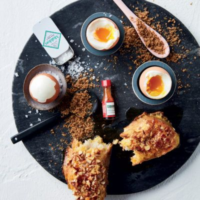 Almond french toast with boiled eggs and biltong powder