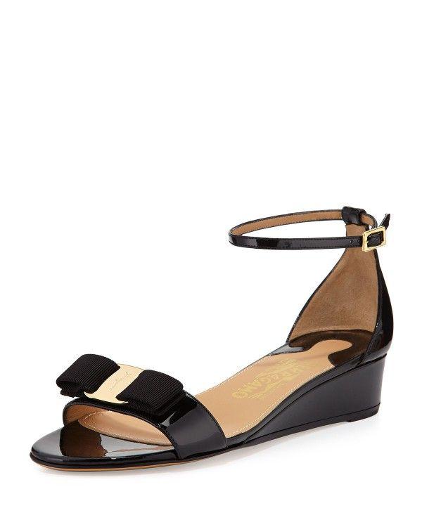Salvatore Ferragamo - Margot Patent Bow Demi-Wedge Sandals