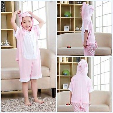 Kids Pink Pig Modal Kigurumi Pajamas For Summer