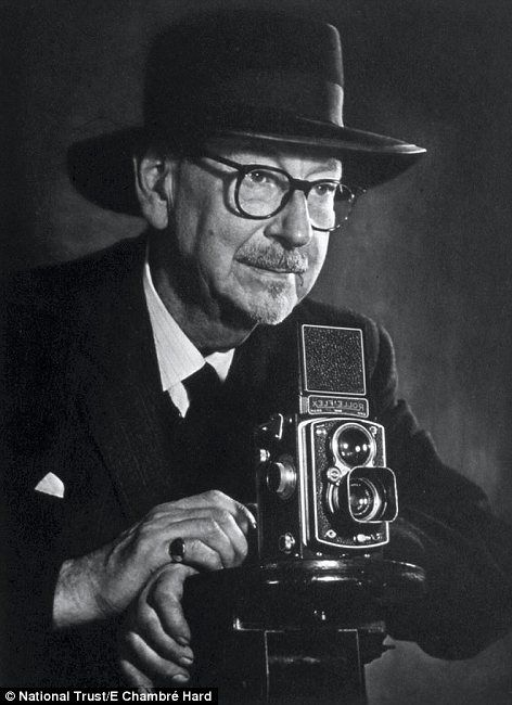 Master: Edward Chambre Hardman with the Rolliflex camera he used to capture many of his iconic images of Liverpool in the mid 20th century