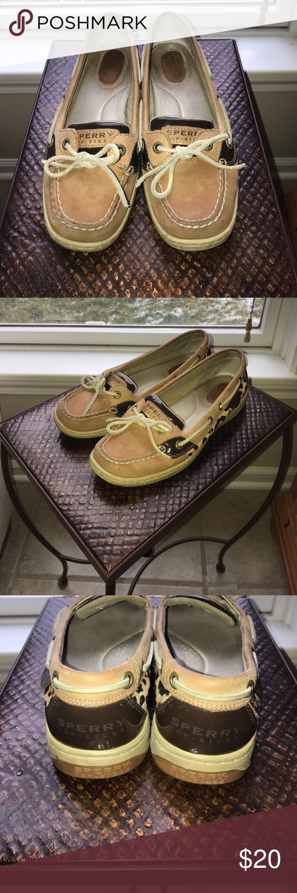 Sperry Women's Angelfish Shoe Leopard Print Lightly worn, like new. Leather in excellent condition, original suede laces. From a nonsmoking household. Sperry Top-Sider Shoes Flats & Loafers