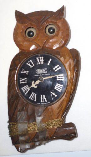 Vintage tezuka poppo owl wall clock moving eye wood occupied japan