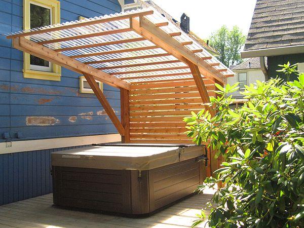 Shelter hottub medidas muebles pinterest hot tubs for Hot tub shelter plans