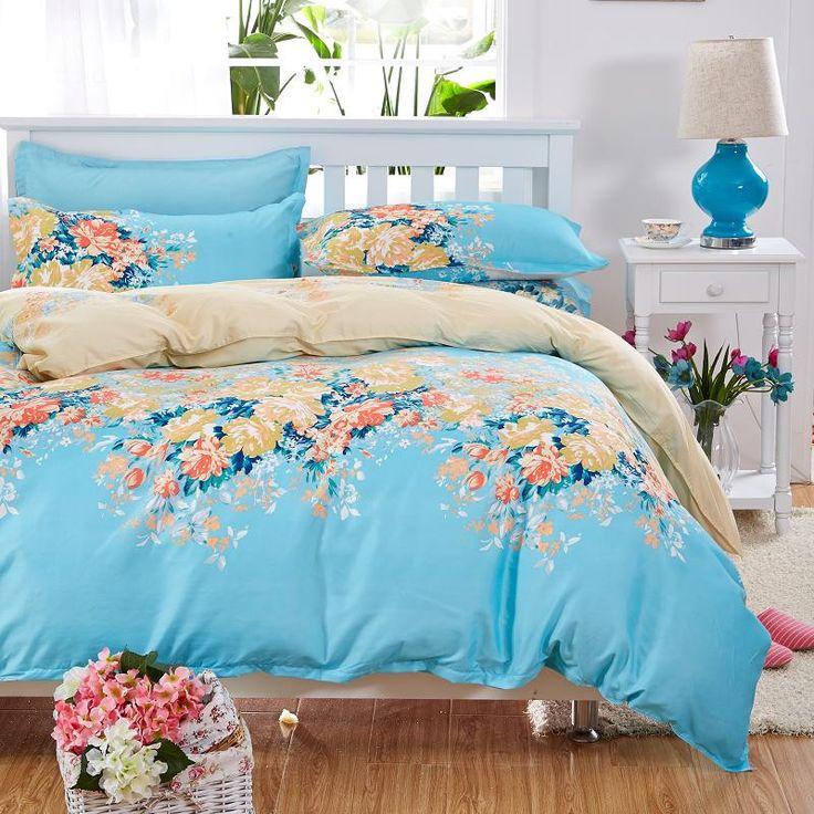 Elegant Floral Bedding Set Polyester Cotton Bed Linen Sets 4pcs Bedspreads Kids Twin Size Blue Duvet Cover Bed Sheet Set
