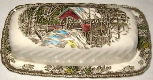 Johnson Brother's Friendly Village Rectangular Butter Dish England Mint | eBay