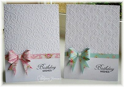 Paper Bows & half embossed card.  Here's the YouTube link in English:  http://www.youtube.com/watch?v=C8btLqrPgis The gal used a 3x3 to create the bow on this card, instead of a 6x6.  Cute!