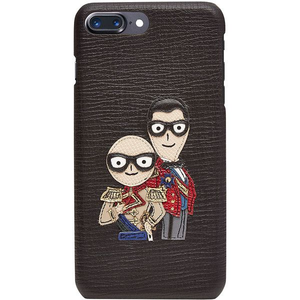 Dolce & Gabbana iPhone 7 Plus Leather Case ($495) ❤ liked on Polyvore featuring men's fashion, men's accessories, men's tech accessories, black and mens leather accessories