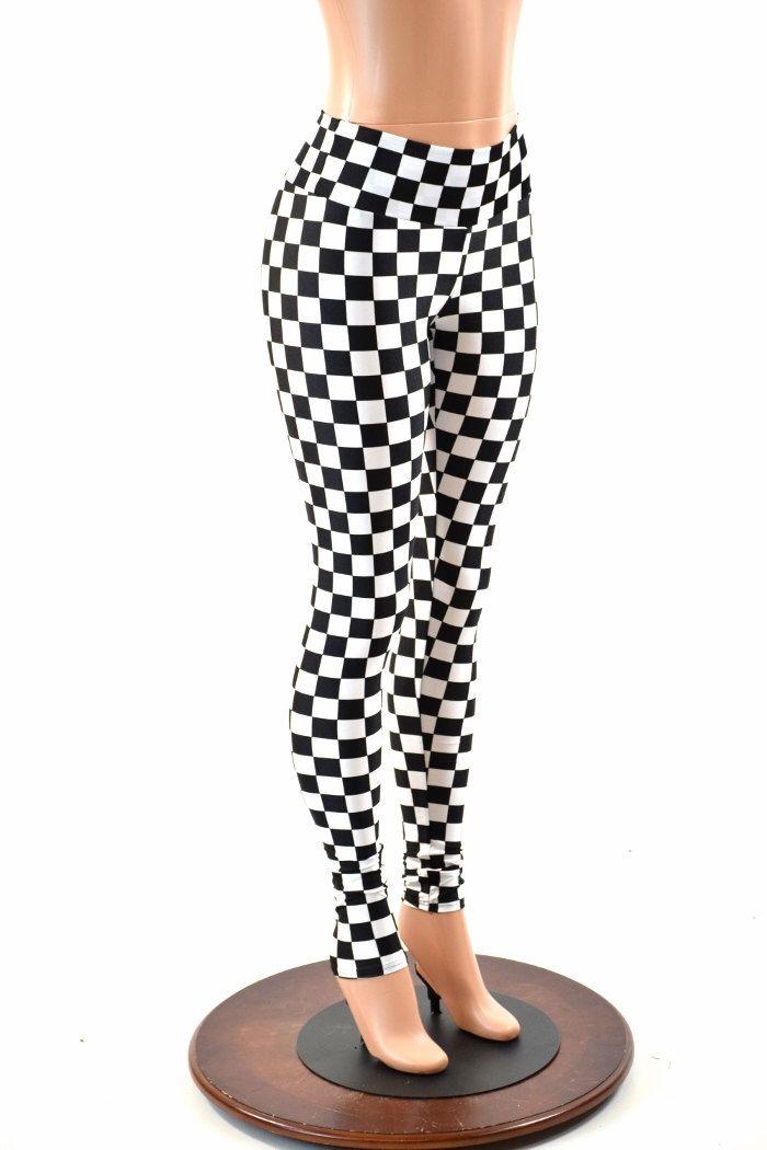 Black & White Checkered Print UV Glow High Waist  Leggings for Neon Run or Yoga  152350 by CoquetryClothing on Etsy https://www.etsy.com/listing/275160240/black-white-checkered-print-uv-glow-high