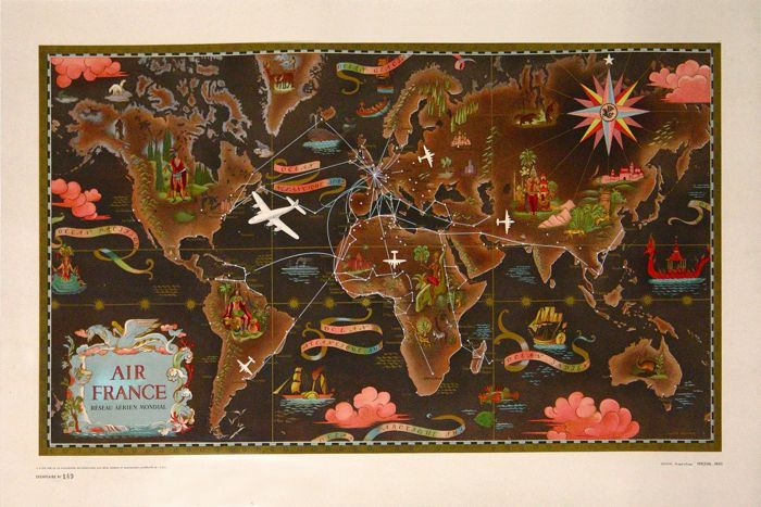 Air France Map of the World by Lucian Boucher
