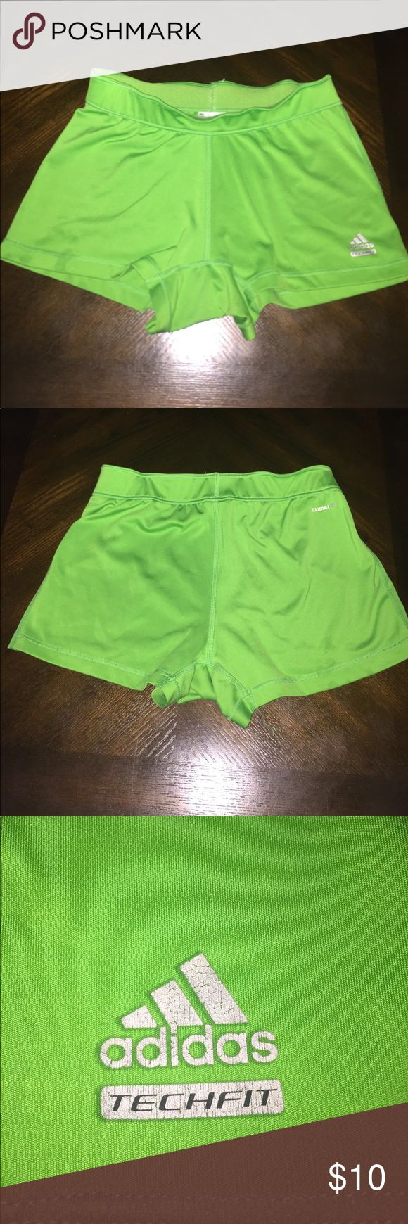 Women's Green Adidas Spandex Shorts These spandex shorts are great for athletic uses like under team sport uniforms. adidas Shorts