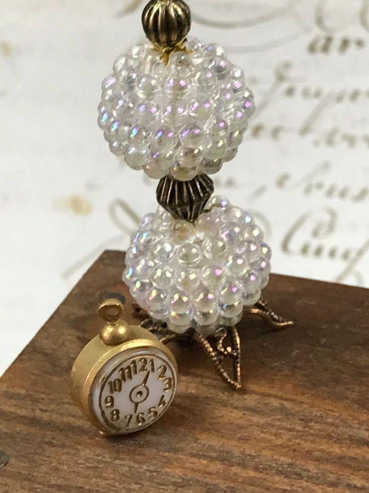 Glass Beaded Lamp Miniature Dollhouse Circa 1960s Brass