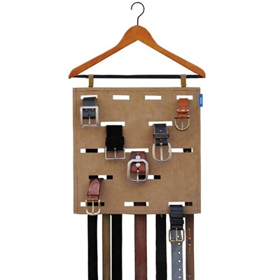 belt organizer - I am making this out of cardboard, plastic hanger, and a glue gun. Not as pretty but it works!