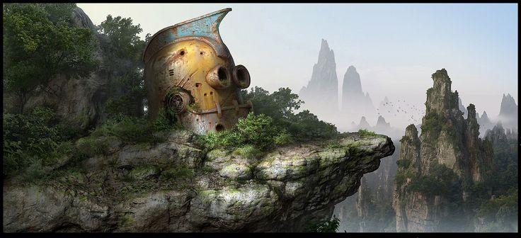 Matte painting Picture  (2d, landscape, matte painting, robot)