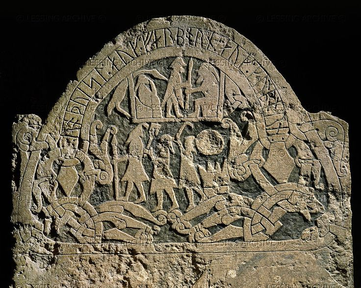 Viking memorial picture stone (the Stora Hammarsstone ) showing the saga of the god Thor (son of the god Odin) dedicated to the brothers Rodvisl. Sanda, Gotland (Sweden); 7th-10th century. In the Historiska Museet, Stockholm, Sweden.