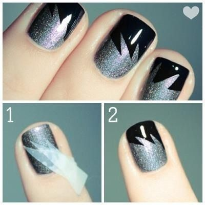 Black & Silver Nail Tape Art.  I think I would do black and gold for mizzou!