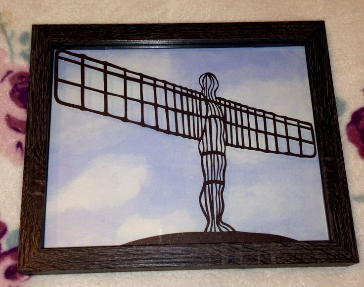 Designed by Emma Boyes, hand cut by me with a watercolour sky background painted my me x