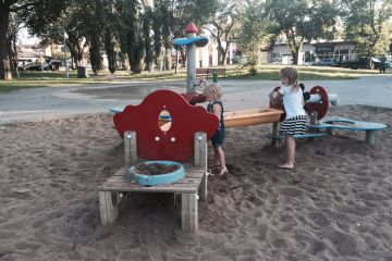 Giovanni Caboto Park in Edmonton. Close to downtown, fun water play and nice shady areas for parents to sit while the kids are playing.