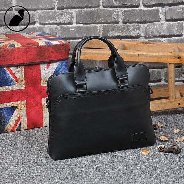 Leather Laptop Bag Business Style Document Briefcase
