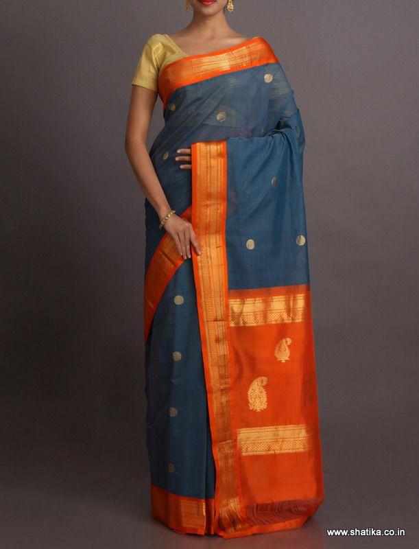 Nisha Cool Blue With Blazing Orange #GadwalCottonSaree