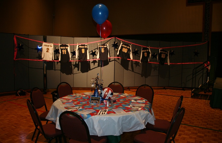 128 best images about sports banquet ideas on pinterest for Athletic banquet decoration ideas